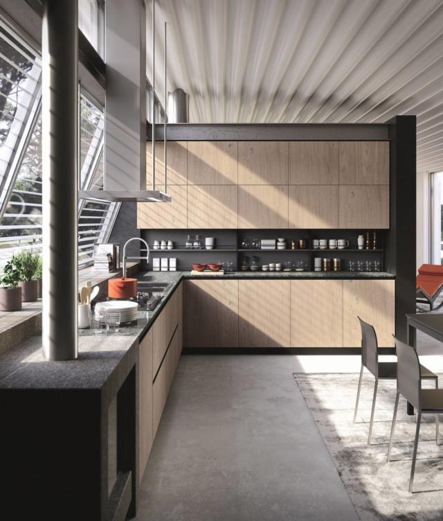 Cucina rovere Lab13 UrbanStyle con piano in marmo verde di Aran cucine