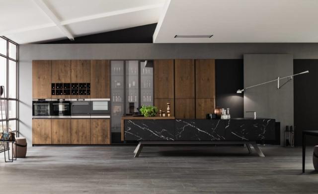 arrex loft wood cucina piano effetto marmo-gres