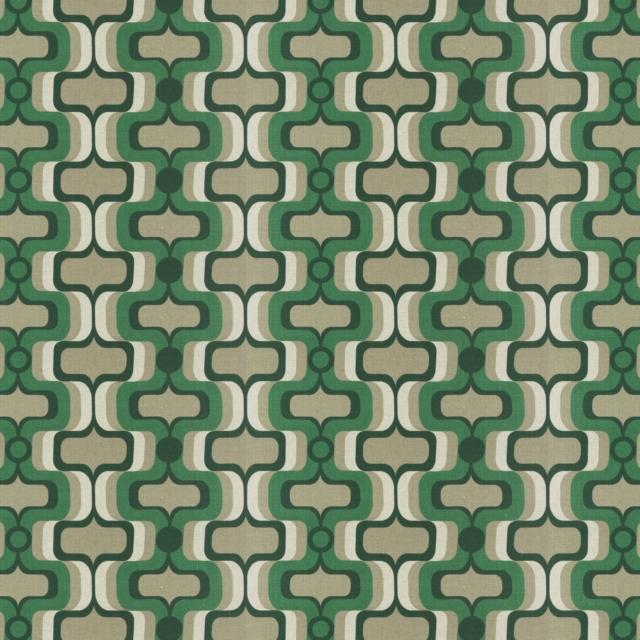 """""""Aurigio"""",  il tessuto motivo Sixties , stampato misto lino per rivestimento e decorazione, collezione """"Influences"""" di Carlucci by JAB Anstoetz"""