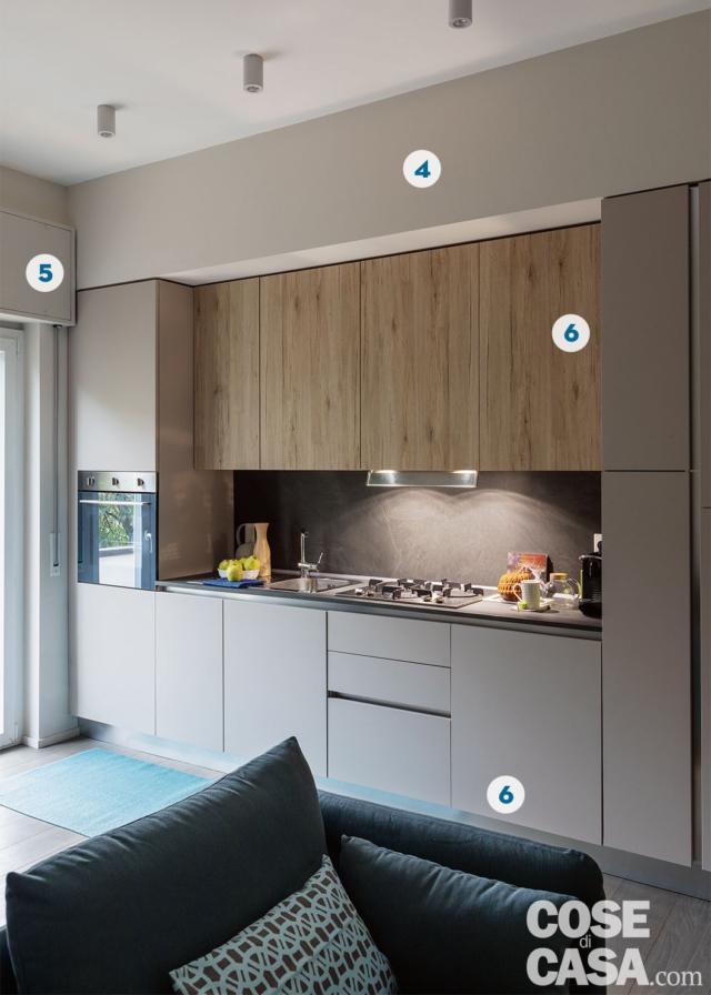 cucina, colonna forno, zona cottura con piano a gas, pensili, colonna frigo, faretti a soffitto