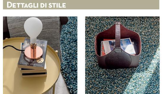 Il tavolino-vassoio Gladom di Ikea (www.ikea.com) riprende uno dei colori del tappeto. La lampada è Pom Pom di Calligaris (www.calligaris.com). Puntini multicolor danno luce al tappeto mélange su fondo scuro Vindum di Ikea. Un tocco chic: il portariviste in pelle liscia con inserti effetto cocco.