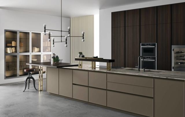 doimo cucine SoHo_Eucalipto, laccato super matt camoscio, marmo sequoia_4 cucina con piano in marmo