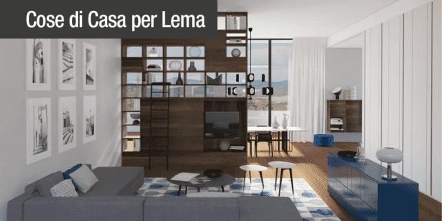 Arredare il soggiorno open space con arredi bifacciali. Progetto in 3D
