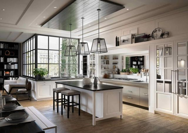 Cucina bianca Bellagio di Marchi cucine con piano in marmo nero