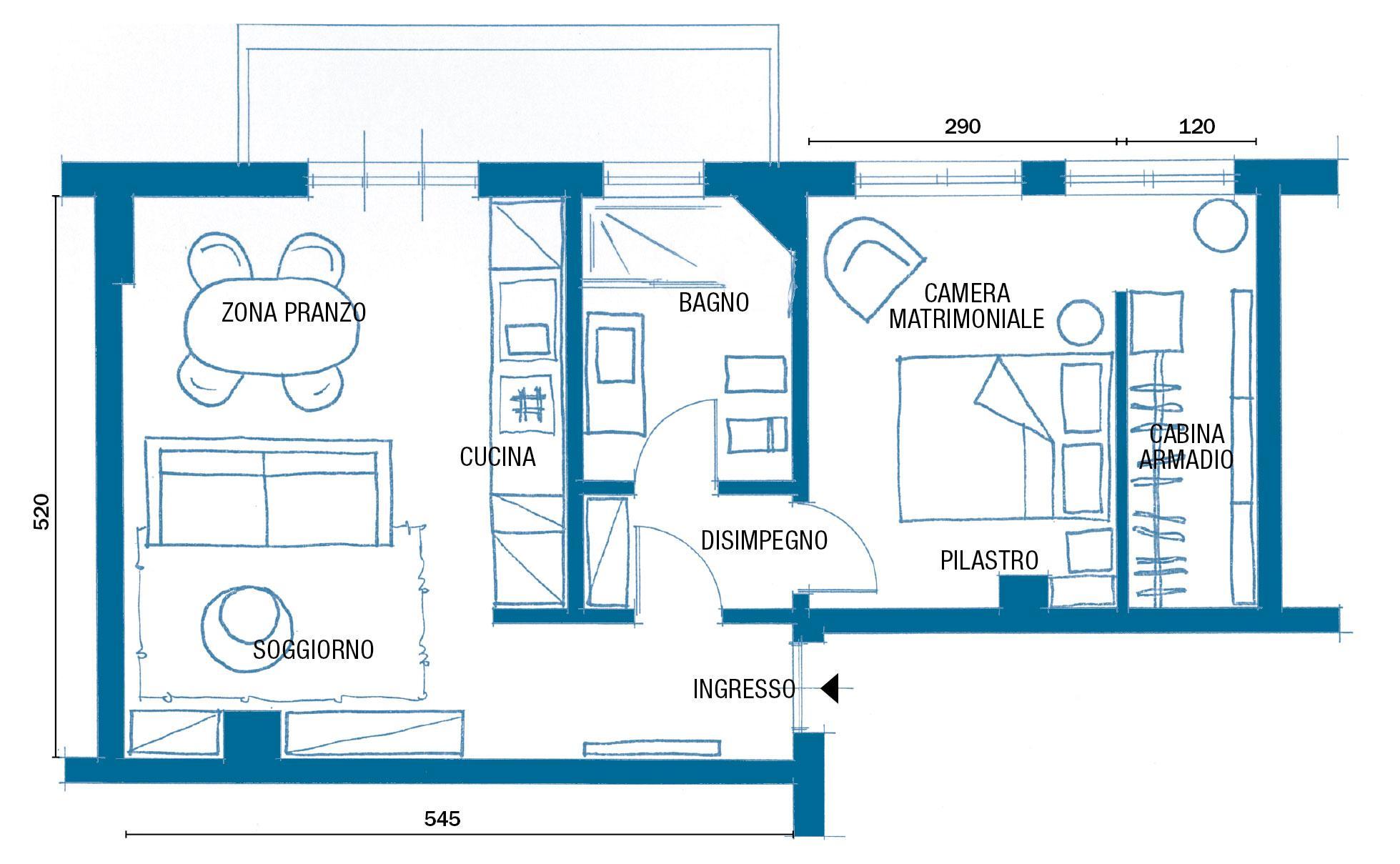 Dimensioni Finestre Camera Da Letto bilocale di 48 mq con bagno e cucina ampliati - cose di casa