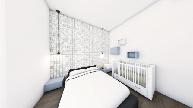 progetto della camera con aggiunta del lettino per il neonato