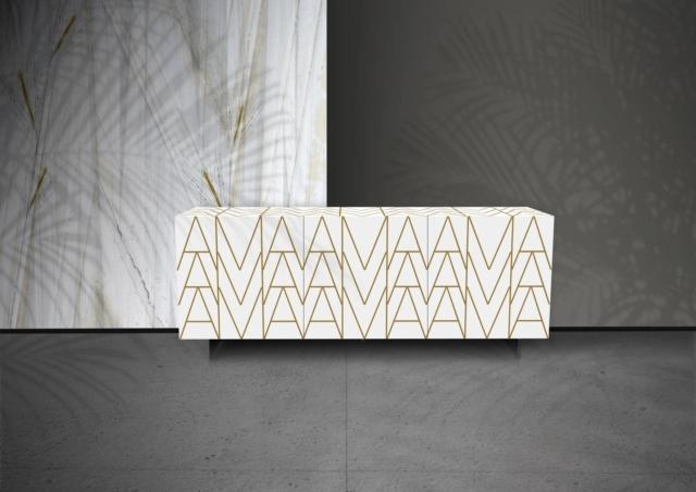 "madia laccata bianco decoro lettering ""AMA"" riflessi"