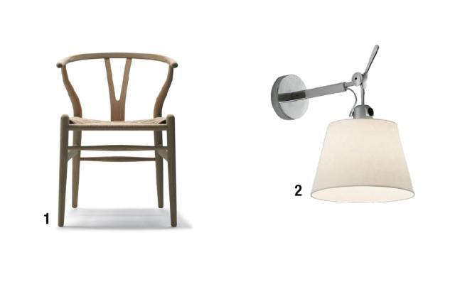 1. Y CHAIR (CH24 WISHBONE CHAIR) Anno: 1949 Design: Hans J. Wegner Produttore: Carl Hansen & Søn • Di design danese, in produzione ininterrotta dagli anni '50 a oggi, è ispirata ai modelli cinesi della dinastia Ming. Il bordo dello schienale in legno curvato si prolunga nelle due gambe posteriori; al centro l'appoggio a forma di Y che dà il nome alla sedia. 2. TOLOMEO Anno: 1987 Design: M. De Lucchi, G. Fassina Produttore: Artemide • La famiglia delle Tolomeo, tra i più noti modelli di design contemporaneo, comprende lampade di diverse dimensioni e tipologie: applique (in foto), sospensione, da terra e da tavolo. A seconda della versione, il diffusore orientabile è in alluminio anodizzato, in tessuto o pergamena.