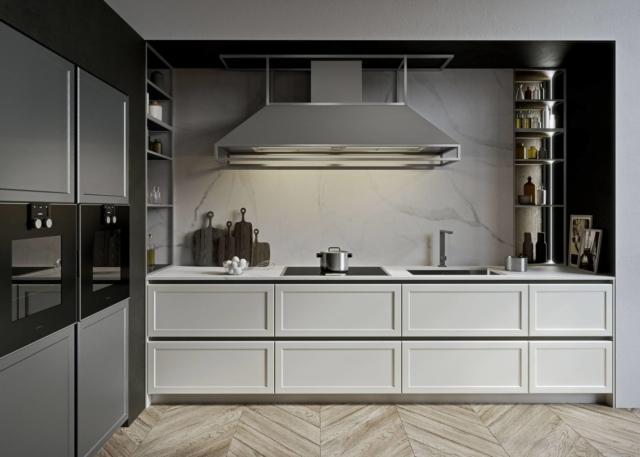 Cucina bianca FRAME  con piano in marmo di Snaidero