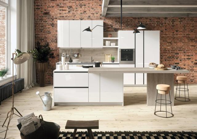 snaidero AB_INTERNO_A99 FIRST cucina con piano effetto marmo-laminato