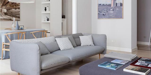 soggiorno-divano-tavolo casa in stile nordico