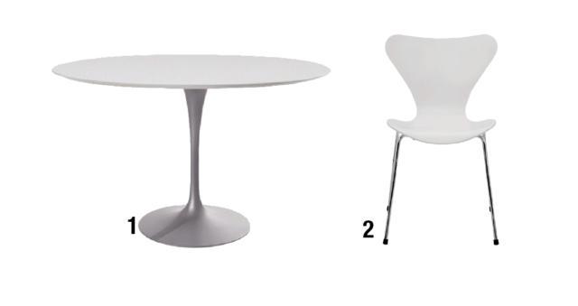 1. DINING TABLE Round Anno: 1957 Design: Eero Saarinen Produttore: Knoll • Niente più gambe sotto il tavolo, ma solo un basamento centrale che sostiene il piano, ovale o rotondo, in marmo o altri materiali. Alla fine degli anni '50 l'intuizione di Saarinen portò una vera e propria rivoluzione nella zona pranzo. 2. SERIE 7, mod.3107 Anno: 1955 Design: Arne Jacobsen Produttore: Fritz Hansen • La sedia impilabile, icona del design scandinavo, si caratterizza per l'essenzialità formale di seduta e schienale sagomati in compensato che formano una scocca unica ottenuta con la tecnica industriale della laminazione.