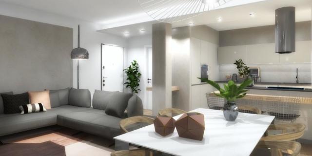 Cucina aperta, bagno in camera e lavatrice nascosta: progetto 3D