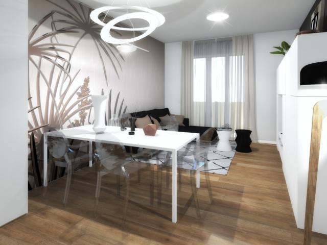 Modello Esprit di Glamora per questa versione della parete dietro a tavolo e divano.