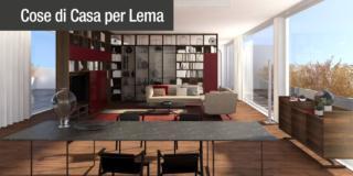 Soggiorno con libreria Selecta di Lema - progetto 3D con arredi Lema per dividere il soggiorno