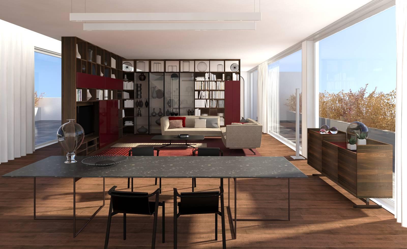 Dividere il soggiorno e la camera con mobili a tutta for Progetto soggiorno