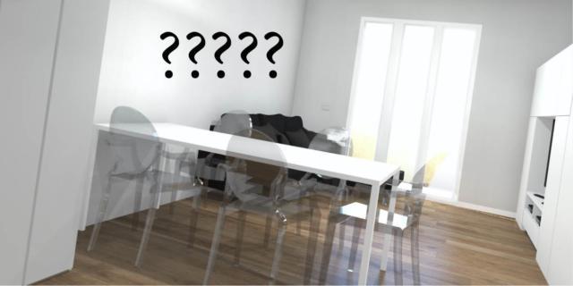 Come arredare la parete dietro tavolo e divano, definendo le zone?