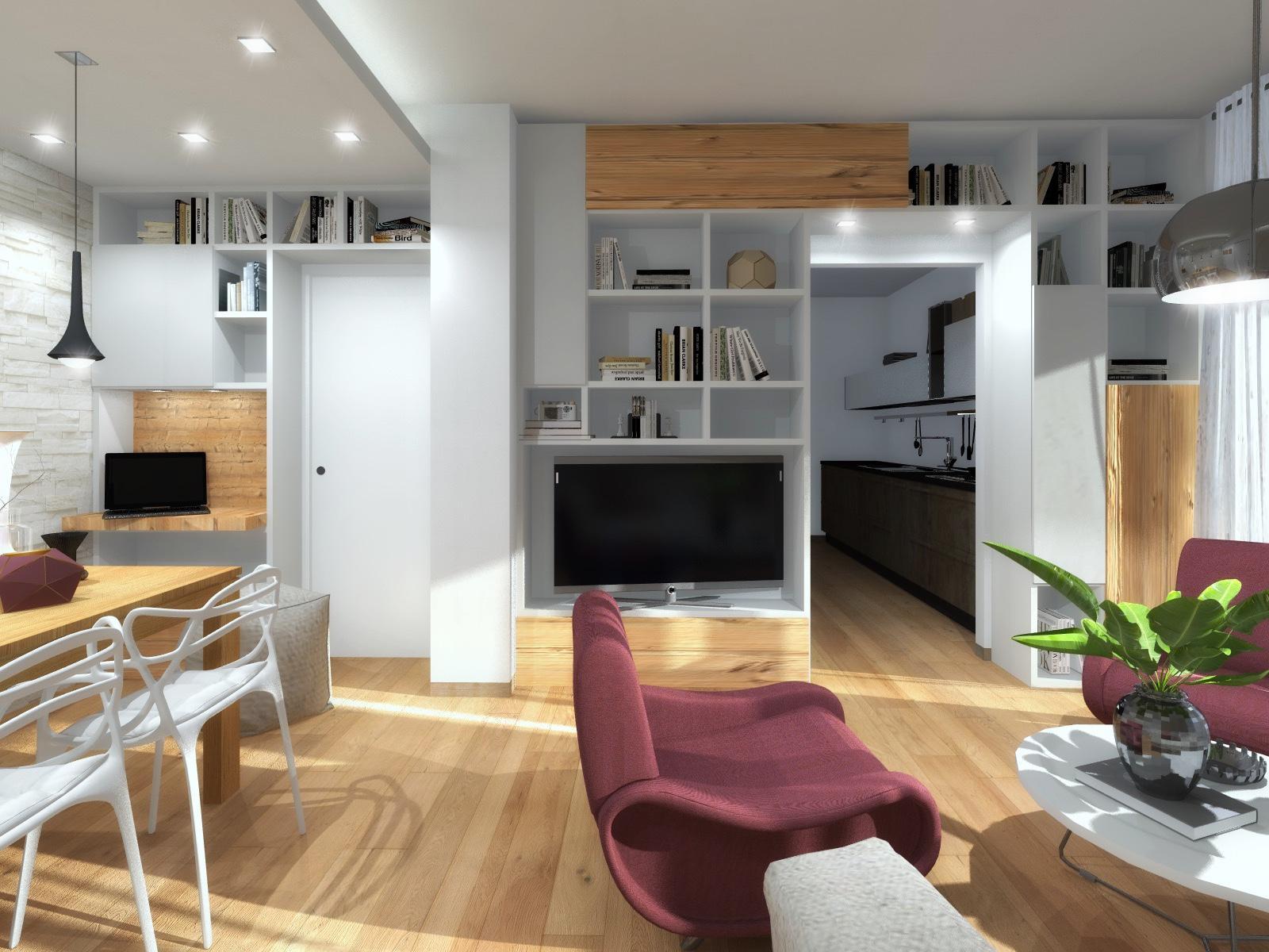 Arredare un soggiorno difficile progetto in 3d cose for Arredare 3d