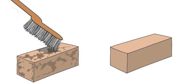 2. Gli elementi integri che potranno essere recuperati devono essere spazzolati in modo da asportare eventuali incrostazioni di terra o sporcizia mediante l'utilizzo di spazzole metalliche; quelle in ottone sono più morbide, quelle in ferro più dure.