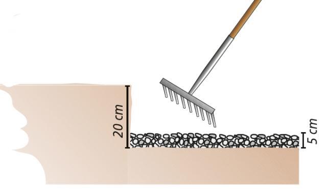 3. Si potrà quindi iniziare uno scavo lungo la linea dei cordoli delle aiuole per una profondità di almeno 20 cm e si provvederà a stabilizzare il fondo con uno strato di circa 5 cm di ghiaia che andrà poi livellato con l'aiuto del rastrello.