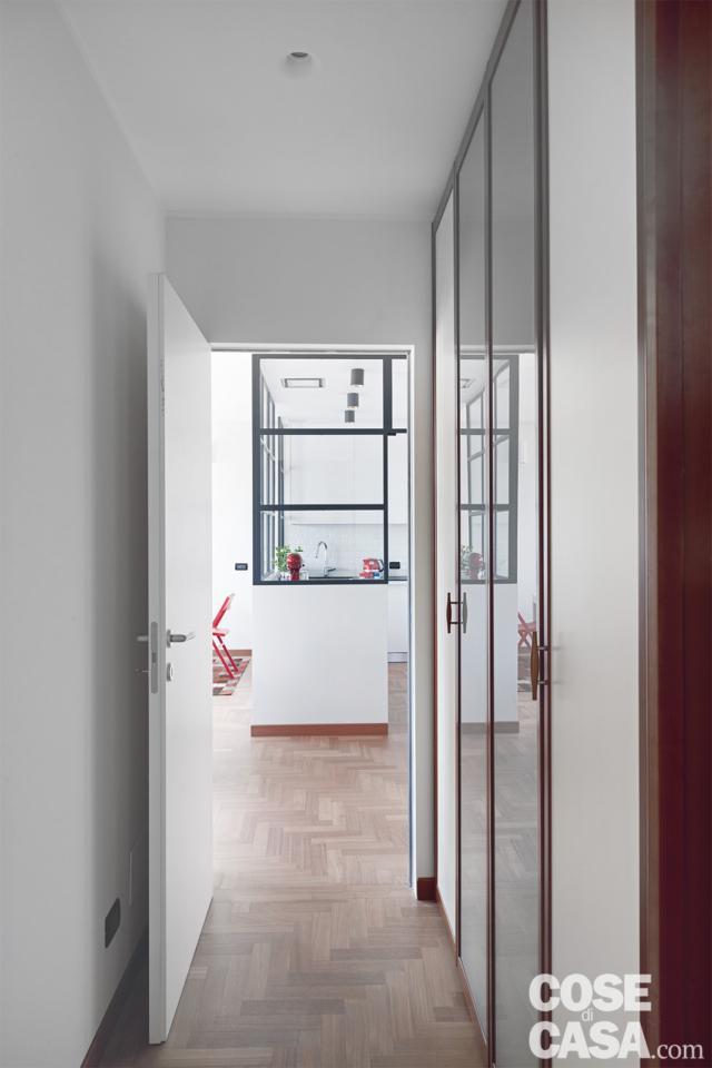 corridoio della casa di 70 mq da bi a trilocale
