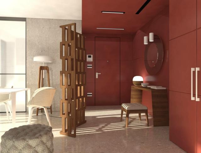 Ingresso definito da paravento  e colore a parete e soffitto