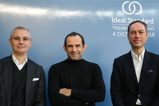 (Ideal Standard) Eugenio Cecchin, amministratore delegato Ideal Standard Italia, Roberto Palomba, architetto (Palomba Serafini Associati) e Torsten Türling, CEO di Ideal Standard International.