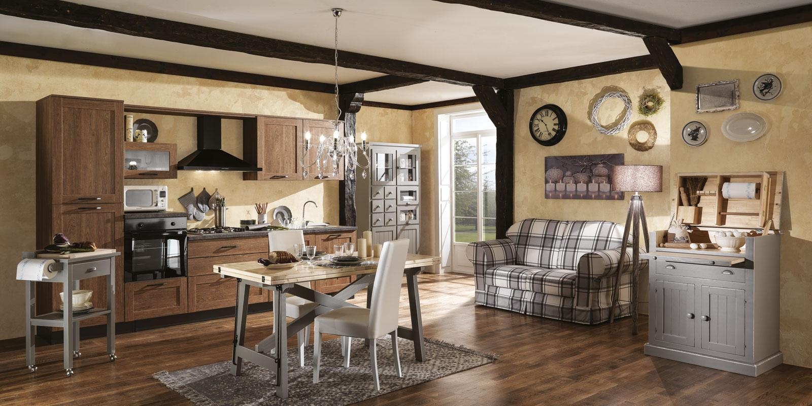 Casa in stile country protagonisti legno e materiali for Tende per arredare casa