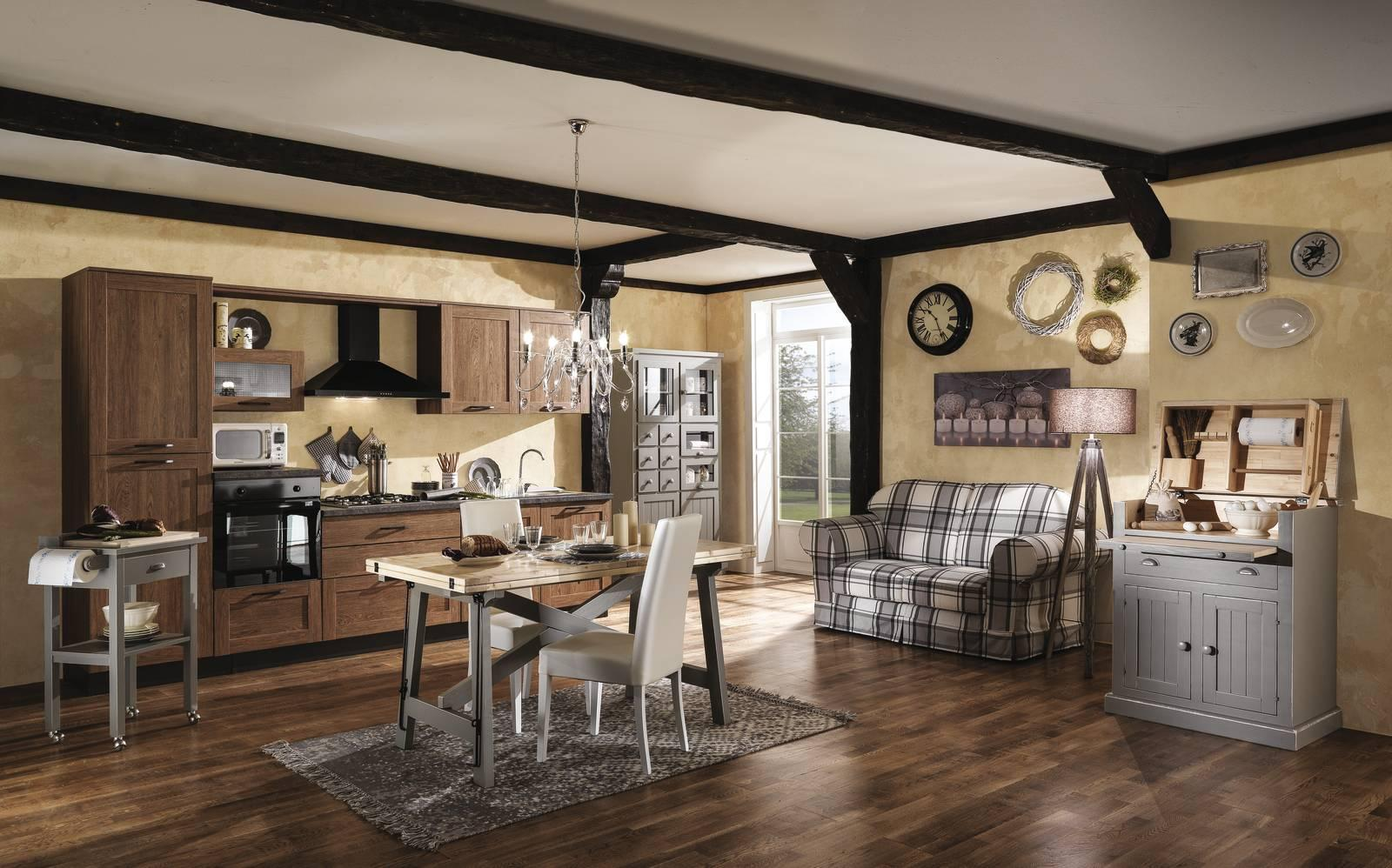 Casa in stile country protagonisti legno e materiali for Mobili zona giorno
