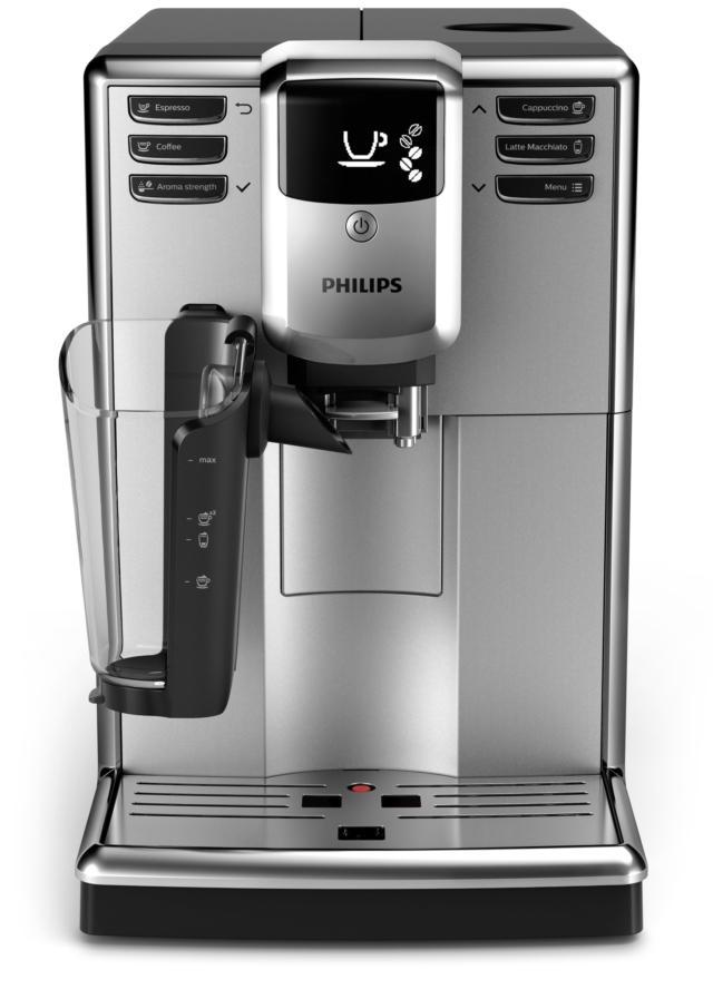 Philips Serie 5000 LatteGo è la macchina automatica per l'espresso che offre sei varianti di caffè e una crema di latte. E' completa di filtro AquaClean brevettato per avere acqua pura per 5.000 tazze senza la necessità di effettuare la decalcificazione. Con macina caffè, ha pressione di 15 bar e contenitore da 1,8 litri. Misura L 22 x P 43 x H 34 cm. Prezzo 799,99 euro. www.philips.it