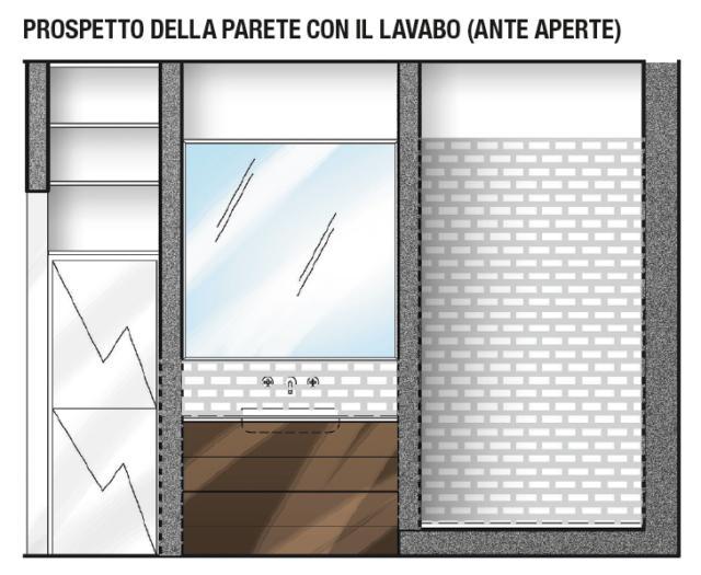 IL LAVABO AL CENTRO Racchiusa tra i due fianchi in muratura di nuova costruzione, la nicchia con il lavabo misura 125 cm. È rifinita in parte con piastrelle e in parte con idropittura specifica per ambienti umidi.