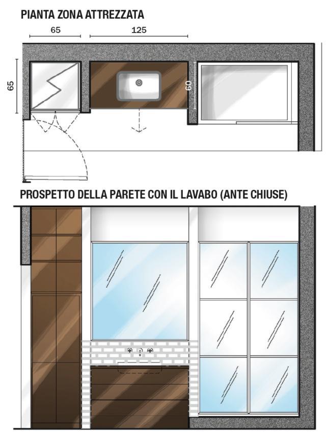 TUTTO COORDINATO L'estetica che caratterizza la cucina viene riproposta in bagno, con le finiture, i complementi e gli accessori. Come la cornice dello specchio e la chiusura della doccia, che sono in ferro tinto nero.