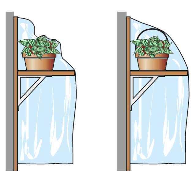 Distanziare le parti del telo plastico che si sono attaccate all'apparato fogliare. Per farlo si possono posizionare appositi tutori o distanziatori (si acquistano nei garden center).