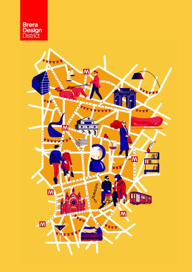 La nuova mappa degli eventi del Brera Design District per la Milano Design Week 2019. Illustrazioni by Giovanna Giuliano.