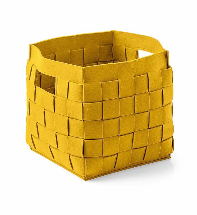 Portavasi giallo in feltro di poliestere intrecciato CALLIGARIS CONNOR