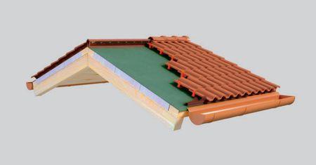 Aertegola consiste in un tipo particolare di coppo e un piedino di rialzo che rendono più semplice ed efficace il sistema per la realizzazione di tetti ventilati con manto in tegole portoghesi. Anche Aertegola soddisfa le norme Uni e Andil.