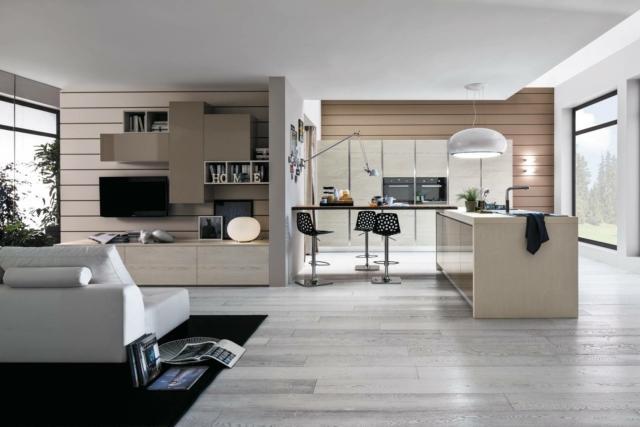 soggiorno e cucina con arredi uguali arrexLeCucine_Sole