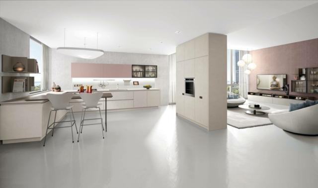 soggiorno e cucina con arredi uguali euromobil
