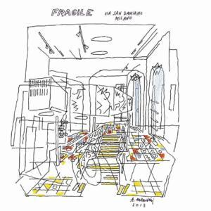 Disegno di Alessandro Mendini per il progetto del Design Store Fragile, Milano, 2013.