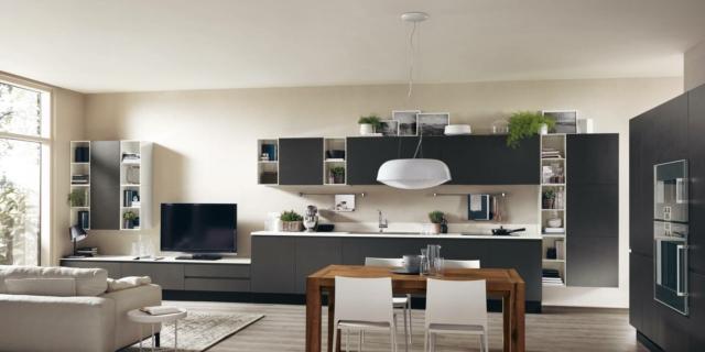 soggiorno e cucina con arredi uguali scavolini Motus7