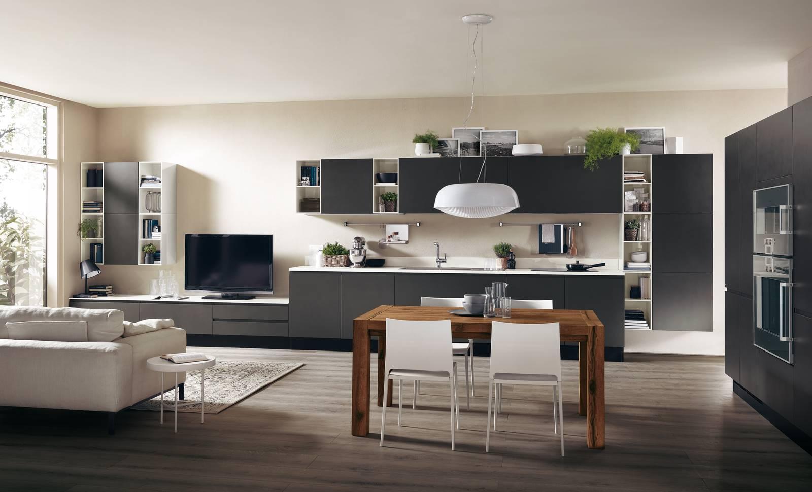 Soggiorno e cucina open space ma quale finitura scegliere for Scavolini pareti attrezzate