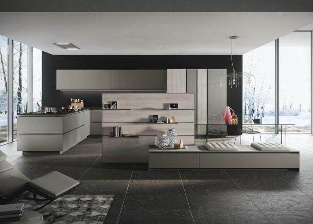 soggiorno e cucina con arredi uguali snaidero Look