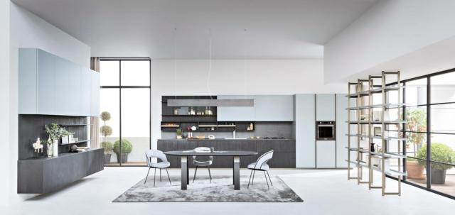 soggiorno e cucina con arredi uguali Segni di zampieri