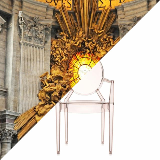 CONFÓRMI Kartell, Gin Lorenzo Bernini, Throne of Saint Peter, St. Peter's Basilica Vatican City, Italy VS Philippe Starck, Louis Ghost.