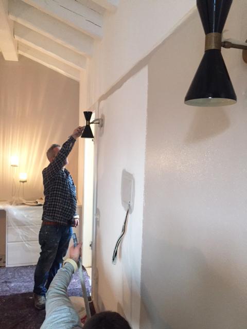 Camera da letto montaggio lampade