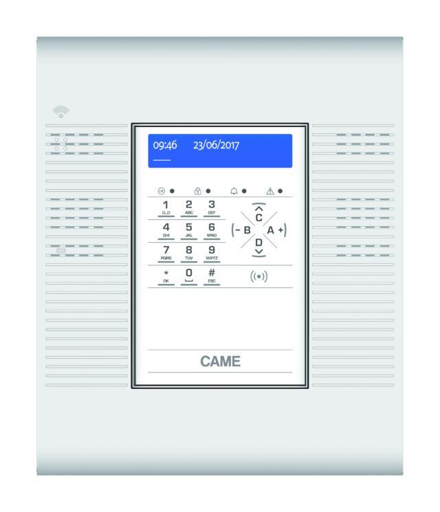 PXC24W di Came è una centrale antintrusione programmabile a 24 ingressi radio, con tastiera e display utilizzabili per la gestione dell'impianto e per la programmazione dei parametri funzionali. La centrale dialoga in modalità bidirezionale Dual Band con tutti i dispositivi della gamma radio. Il modulo PSTN è integrato a bordo e permette la trasmissione degli allarmi in formato vocale e in formato digitale verso istituti di vigilanza. I messaggi sono impostati con la funzione TTS (Text To Speech), che trasforma in messaggio vocale un testo precedentemente scritto, oppure registrabili tramite l'apposito microfono previsto a bordo. La centrale radio è dotata di guida vocale per il controllo remoto: chiamando la centrale, infatti, è possibile effettuare varie operazioni di controllo (attivazione e disattivazione centrale, interrogazione stato alimentazione fusibili, interrogazione memoria eventi, interrogazione e attivazione uscite) assistiti da messaggi vocali. Può essere completata con il modulo PXGPRS per la trasmissione degli allarmi anche sulla rete GSM. Utilizzando questo modulo è possibile trasmettere gli allarmi in formato SMS ed effettuare le operazioni di controllo remoto descritte sempre tramite messaggi SMS. Il modulo PXGPRS permette, inoltre, il collegamento diretto via internet al Cloud per il controllo remoto, la gestione del sistema tramite App, il supporto alla funzione di video-verifica, la connessione alla rete LAN utilizzando il dongle PXDGETH o ad una rete WIFI utilizzando il dongle PXDGWF. Tramite la connessione su rete LAN è possibile collegare la centrale al sistema domotico per il controllo centralizzato. www.came.com