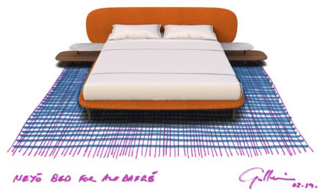 Il letto NeyÕ di Alf DaFrè, design Gordon Guillaumier, ha la testata imbottita, con due comodini modulari integrati privi di spigoli, con una linea arrotondata che si ispira alla forma dei ciottoli di fiume. www.alfdafre.it
