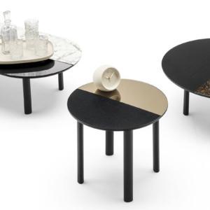 nero tavolino con base a motivo geometrico con filo di ferro in metallo adatto per riporre oggetti con piano rotondo a vassoio