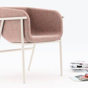 La poltroncina Flora di Chairs & More, design Studio Pastina, è caratterizzata dalla elegante struttura in tubolare di metallo bianco che abbraccia la scocca in poliuretano rivestito con tessuto ignifugo disponibile in diverse varianti di colore. www.chairsandmore.it