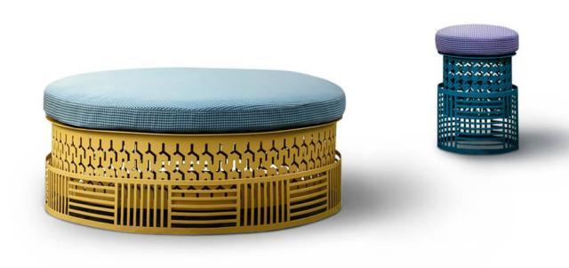 Trame di Daa, design Angeletti Ruzza, è il pouf con una base in metallo lavorato e colorato che lo caratterizza rendendolo unico, comodo e un po' frivolo. www.daaitalia.com
